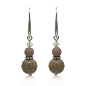 Natural Round Rhodonite Adorned with Swarovski® Crystal Beads Real Platinum Plated Earrings