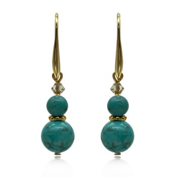 Natural Round Turquoise Adorned with Swarovski® Crystal Beads Earrings