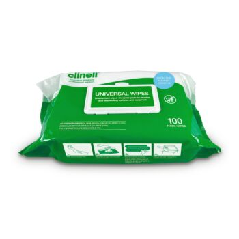 Clinell Universal Cleaning and Disinfectant/Multi-Purpose Wipes (100 Sheets)