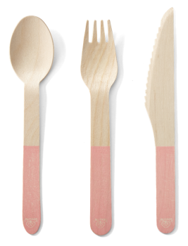 Back to Nature Birch Cutlery (Pink Handle) - 24pc