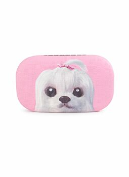 Quality PU Covered & Lined Trinket Case Dog Pink