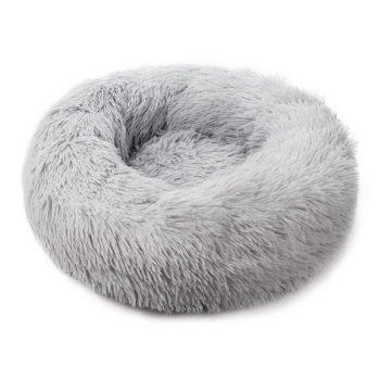 Soothing Calming Donut Pet Bed in Light Grey