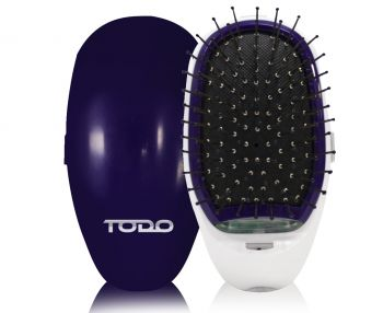 TODO Ionic Styling Hair Brush Health Smooth Silky Hair Stainless Steel Bristle Comb Purple