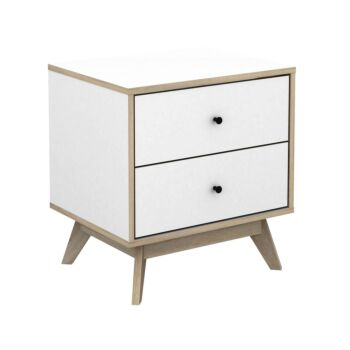 Cosmoliving Scandi 2 Drawer Bedside Table W50x H52