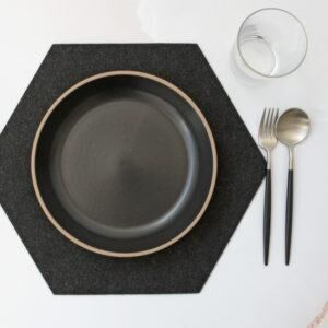 THE JOINERY   Place Mat Set of 4 - Hexagonal - Black