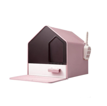 L Portable Hooded Cat Toilet Litter Box Tray House with Drawer and Scoop-Pink