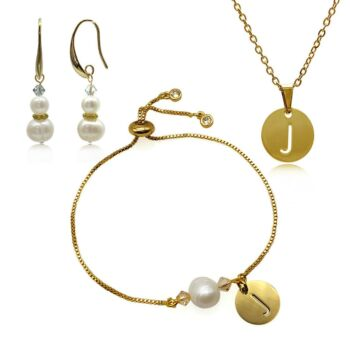 Freshwater Pearl Adorned with Swarovski® Crystal & Initial Letter Charm Real Platinum Plated Earring, Bracelet & Pendant Necklace Set