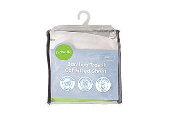 Bamboo Travel Cot Fitted Sheet White