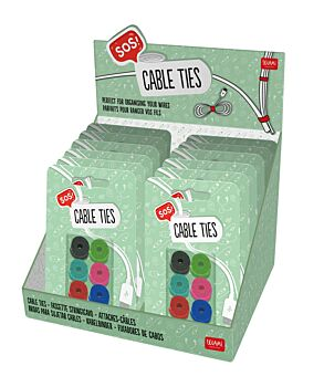 SOS Set of 6 Cable Tidy Ties - Display Pack of 12 Pieces