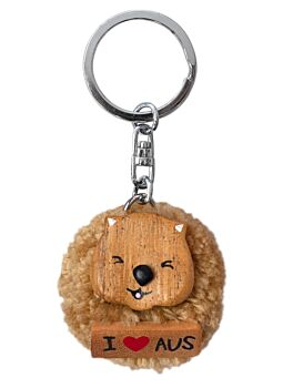 Beautifully Crafted Keyring Wombat Brown Wink