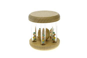 CALM & BREEZY WOODEN RATTLE WITH RAINBOW BEAD