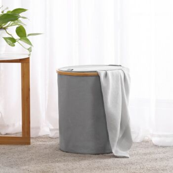 Sherwood Home Short Round Linen and Bamboo Laundry Hamper with Cover Dark Grey 38x38x43cm