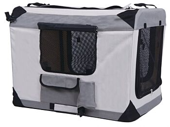Travel Dog Kennel - 70X52X52cm - 2 x Assorted Colours, with Metal Frame, 3 x Pockets, 1 x Air Vent, Zip Entrance and Exit, Oxford Material with Foldable Frame