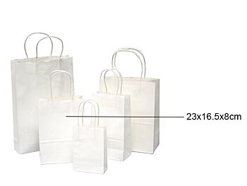 WHITE CRAFT PAPER BAGS - 3 Pack, 16.5 x 23 .x 8cm