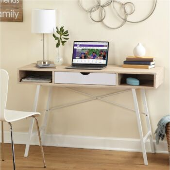 Cosmoliving Office Computer Study Desk W/ Drawer W120x H76.5cm Retro Dressing Table