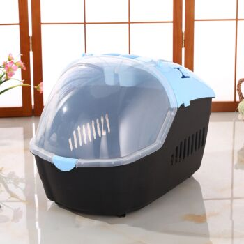 Medium Portable Travel Dog Cat Crate Pet Carrier Cage Comfort With Mat-Blue
