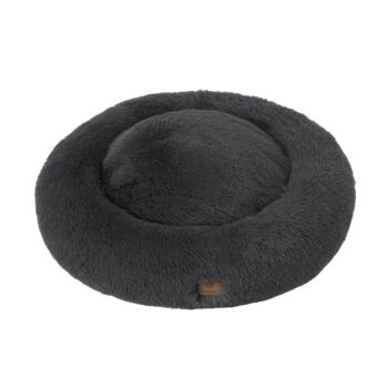 Charlie's Pet Faux Fur Fuffy Calming Pet Bed Nest - Charcoal