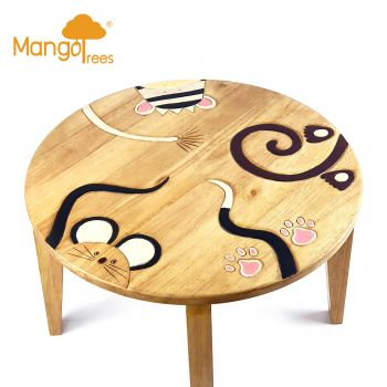Solid Wood Kids Table Toddler Study Dining MANGO TREES Round Children Desk