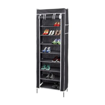 10 Tier Shoe Rack with Cover, Holds 27 Pair, Shoe Storage - Black