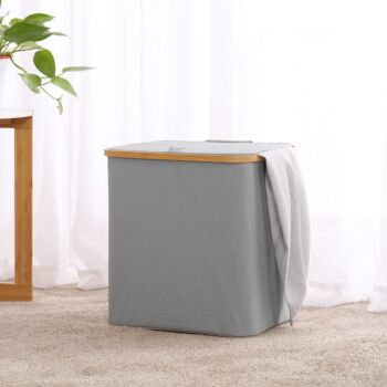 Sherwood Home Short Rectangular Linen and Bamboo Laundry Hamper with Cover Dark Grey 40x33x43cm