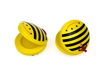 BEE WOODEN CASTANETS