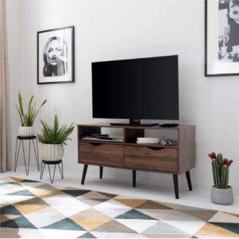 Cosmoliving TV Entertainment Units 99cm 2 Drawer TV Cabinet  W/Cable Holes