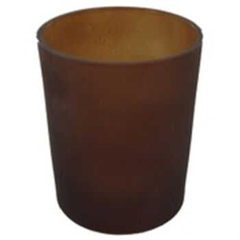 24 Pack - Chocolate Brown Frosted Glass Tealight Votive Candle Holder - Anniversary Wedding Party Table Decoration