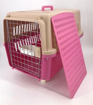 Pink Large Dog Puppy Cat Crate Pet Carrier Cage W Tray, Bowl & Removable Wheels