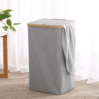 Sherwood Home Tall Rectangular Linen and Bamboo Laundry Hamper with Cover Dark Grey 40x33x67cm