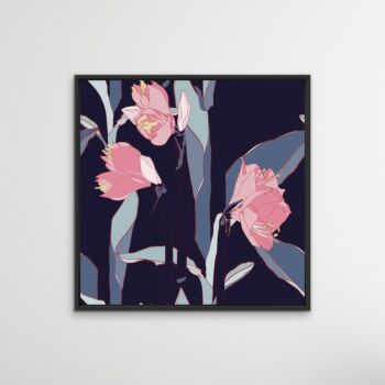 Navy Lilly Bouquet - Pink and Blue Contemporary Floral Canvas Wall Art Print