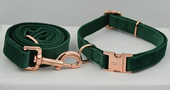 The Green With Envy Velvet Collar & Leash Collection