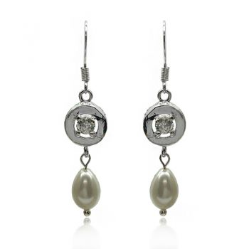 925 Sterling Silver Plated Glass Pearl & CZ Link Earrings