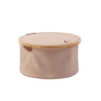 Sherwood Home Round Linen and Bamboo Laundry Hamper with Cover Rose Gold 38x38x20cm