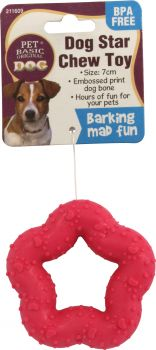 Dog Toy Chew Star With Embossed Bone 7cm