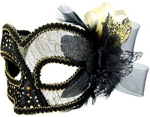 Masquerade Mask - Black w/Tulle Details