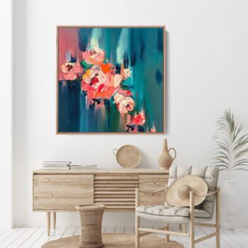 A Golden Day - Abstract Pink and Green Floral Canvas Artwork Wall Art Print