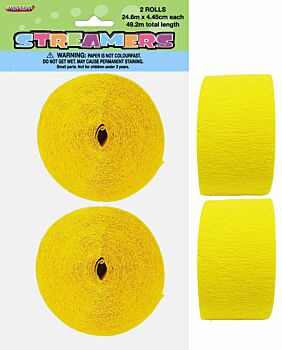 Crepe streamersSoft Yellow 2 Pack