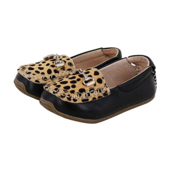 SKEANIE Kids Classic Leather Loafers in Black Print