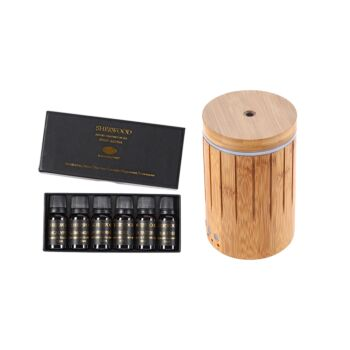 Sherwood Home Bamboo Ultrasonic Zen Shute Essential Oil Diffuser With Light - Natural Brown