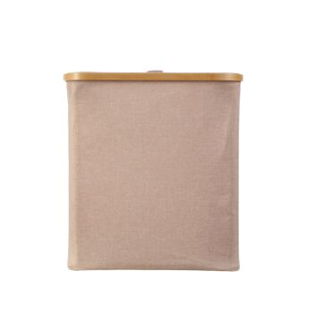 Sherwood Home Short Rectangular Linen and Bamboo Laundry Hamper with Cover Rose Gold 40x33x43cm