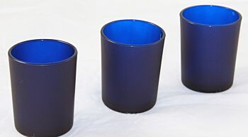 24 Pack - Deep Navy Dark Blue Frosted 6.5cm Glass Votive Tealight Candle Holder Event Decorations Bomboniere