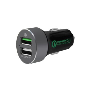 """mbeat® """"QuickBoost S"""" Dual Port Qualcomm Certified  Quick charge 2.0 and Smart USB Car Charger"""