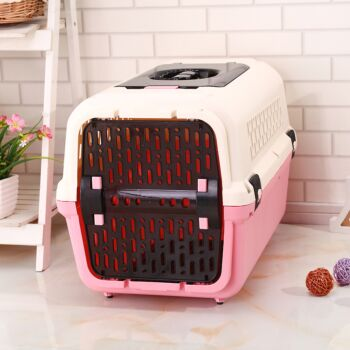 Medium Dog Cat Crate Pet Rabbit Carrier Travel Cage With Tray & Window