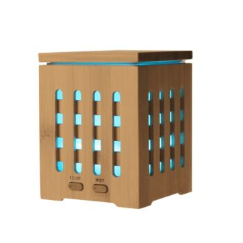 Sherwood Home Bamboo Cube Zen Ultrasonic Essential Oil Diffuser With Light - Natural Brown