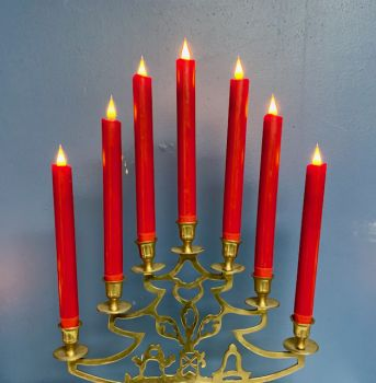 """Set of Two 10"""" Red Colour Table Candle"""