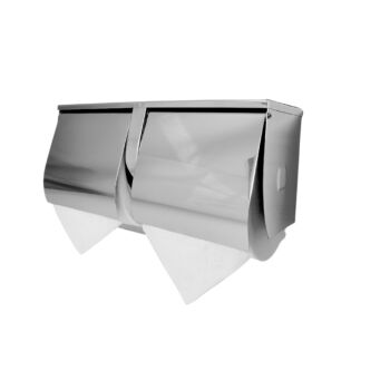 Dolphy Stainless Steel Double Toilet Roll Holder with Shelf