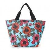 Eco Chic Light Blue Poppies Lunch Bag