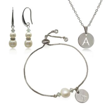 Freshwater Pearl Adorned with Swarovski® Crystal & Initial Letter Charm Real Gold Plated Earring, Bracelet & Pendant Necklace Set