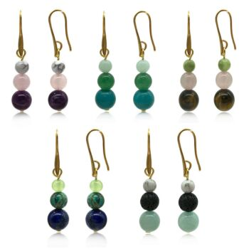 6-10mm Natural Tri-Colour Gemstone Gold Plated Drop Earrings Set