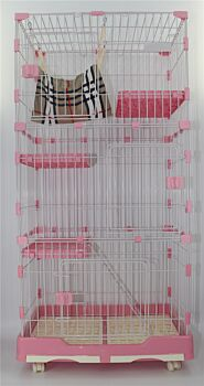 195 cm XL Pink Pet 4 Level Cat Kitten Cage House With Litter Tray 99x63x195 cm